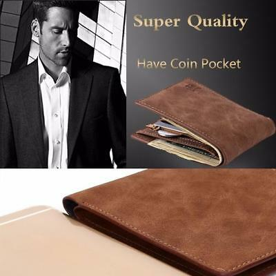 Fashion Mini Men Leather Business Wallet Card Holder Coin Pouch Zipper Purse G