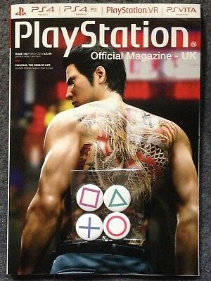 PlayStation Official Magazine #146 March 2018 (Yakuza 6 sub cover) + pin badges