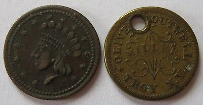 1863 Boutwell (hole) + ND Our Army Civil War Tokens, Vintage CWT coins (101412V)