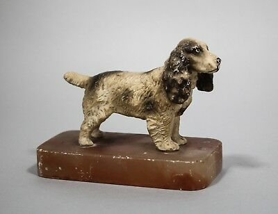 Antique Austrian cold painted spelter spaniel dog figurine statue stone base