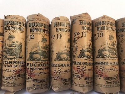 Lot (12) HUMPHREYS' & others homeopathic bottles with packaging in tact! Rare!