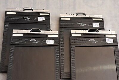 5 Chasis Fidelity Deluxe 9x12 Film Holders, (4 con pelicula FP4+)