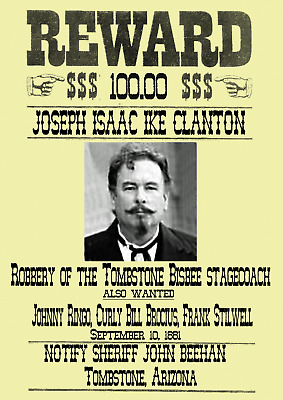 Old West Wanted Posters Tombstone Cowboy Earp Ringo Clanton Ok Corral Western