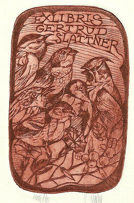 Pavel Hlavaty Vogel Exlibris Slattner Song Birds sign Etching C3