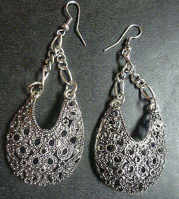 Vintage Antique SIlver Plated Oxidised Filigree Drop 6cm long Earrings Jhumka