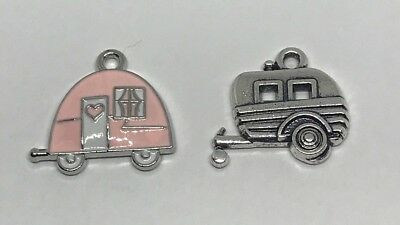E192 4 Camper Charms Silver Plated With Blue and Green Enamel