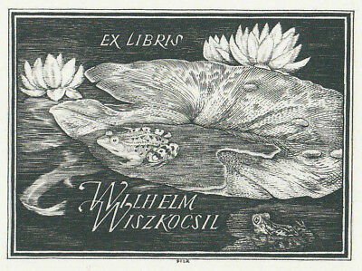 Franz PILZ Frosch Seerose Exlibris Frog on Water Lily C2 Copper Engraving signed