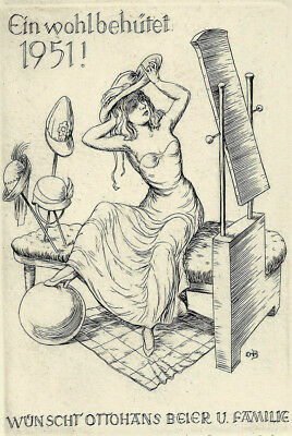 Ottohans Beier PF New Years Card 1951 Woman & Hats Copper Engraving not exlibris