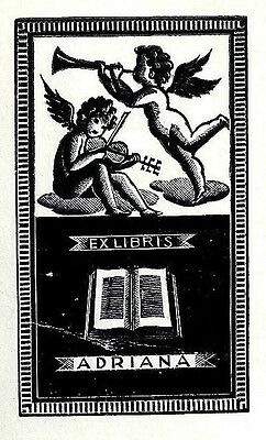 Italo Zetti Violin Geige Exlibris Adriana Music Putto Cherubs Wood Engraving X2