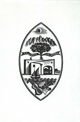 Italo Zetti Musik Exlibris Jansen Italy Music Mountain Moon Wood Engraving X2