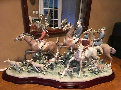 LLADRO FOX HUNT SPECTACULAR, HUGE PIECE WITH BOX, #75 Of Only 1000 Made!