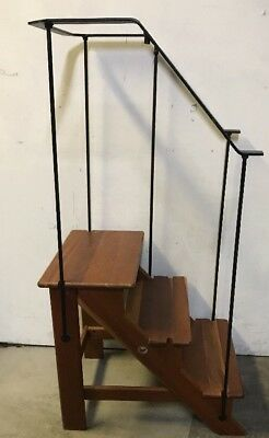 Levenger Cherry Wood Library Stairs 3 Steps Ladder Wrought Iron Rail