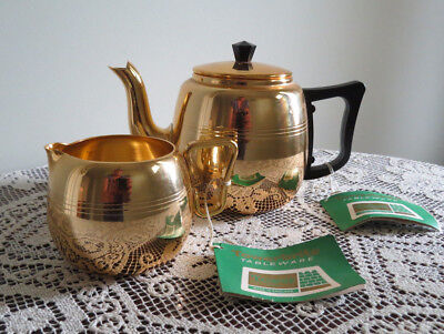 Tower Brite Gold Anodised Tea Pot and Matching Milk Jug Labels attached