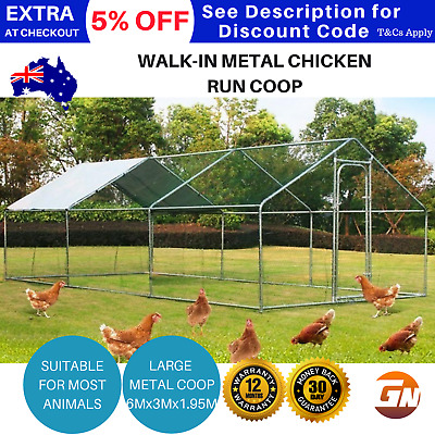 Chicken Run Coop Enclosure Walk In Large Hutch Poultry Dog Pet Metal House 6Mx3M