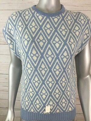 Pendleton Woman's Sz S Blue Diamond Pullover Sweater Vest 100% Wool NOS USA
