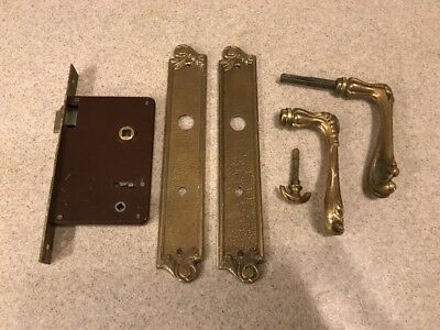 Vintage Antique French Brass Door Handle Set