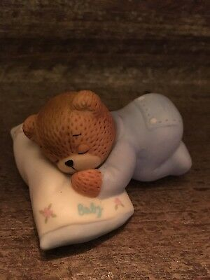 Lucy & Me Bear Baby Boy Sleeping - Adorable   Euc Enesco 1985