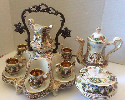 VTG R. Capodimonte Italy Demitasse Set Cups Sugar Bowl Coffee Pot & Stand Cupids