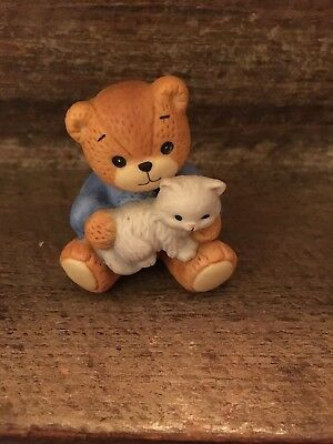 Lucy and Me Bear Holding White Cat 1985 Enesco
