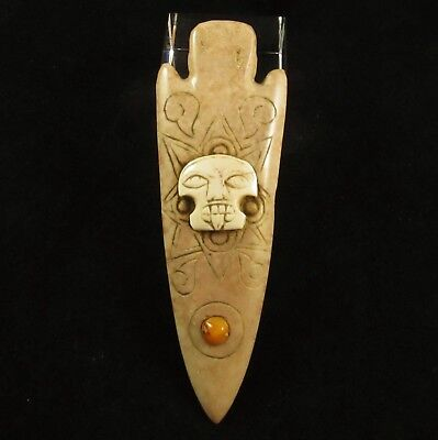 Ancient Pre-Columbian Aztec Carved Stone Arrowhead Pendant w/ Inlaid Stones