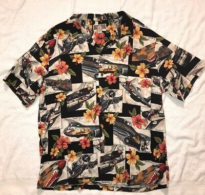 f08bebe0 KALAHEO Mens Bomber Hawaiian Shirt XL WWII Fighter Planes Pinup Girl Vtg USA