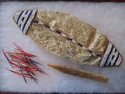 Antique Lakota Sioux Beaded Bladder Bag and Contents