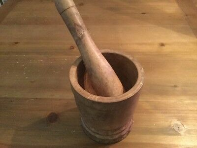 Vintage Mortar & Pestle ~ Wood ~ Pharmacy