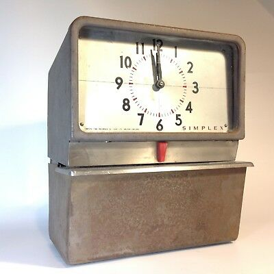 """Vintage Industrial Time Clock  TIME RECORDER """"PUNCH CLOCK"""" SIMPLEX"""