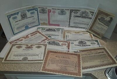 13 Antique Vintage Stock Certificates 1919-1981 Most Are 69-71 Great Condition