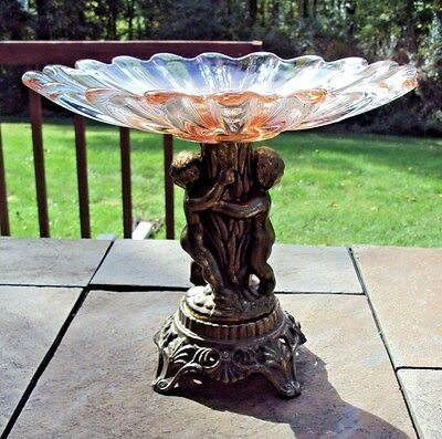 Beautiful Vintage Compote - Spelter with Glass Top
