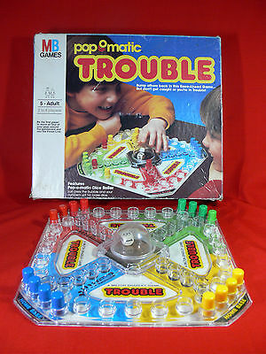 TROUBLE Popomatic - VINTAGE/RETRO Board Game - MB Games - Milton Bradley - 1986
