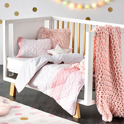 Adairs Kids Addison Quilted Pale Pink Cot Quilt Cover Set BNIB RRP $129.99