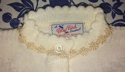 Vtg 1950/60's Baby Sweater New Never Worn Blue Bird Product Ivory Button Front