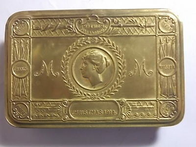 Old WW1 1914 Princess Mary Christmas Gift to Troops Brass Tin. VG