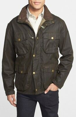 Barbour 'New Utility' Regular Fit Waxed Cotton Jacket Size S   OLIVE GREEN