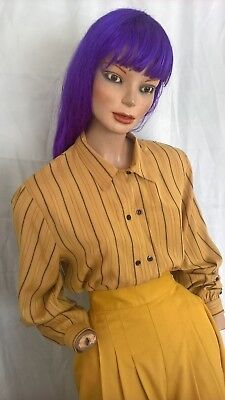Vintage 90s Katies striped l/s shirt blouse with shoulder pads size 10-12/S-M