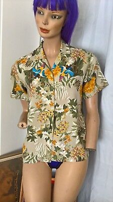Vintage 80s s/s tropical pheasants shirt size 8/XS