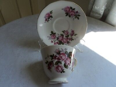 Queen Anne vintage cup and saucer - pink roses (Pattern 8575)