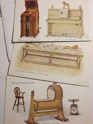 3 Old 1920's QUEENS DOLLS HOUSE Tuck Postcards. VG