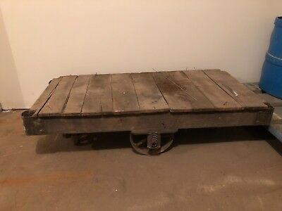 Antique Wood Iron Industrial Railroad Factory Warehouse Cart Dolly Coffee Table