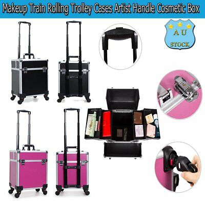 Professional Makeup Train Rolling Trolley Cases PVC Artist Handle Cosmetic Box