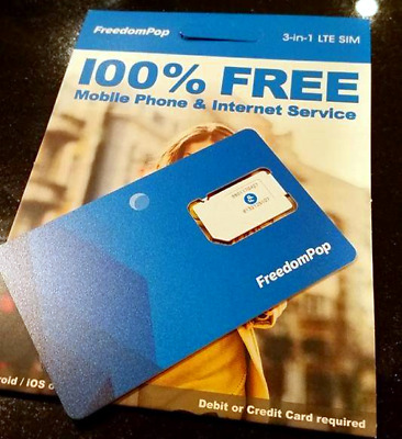 FreedomPop 3-in-1 LTE SIM Card Kit, with 700mb/mo **Top-Up Disabled**
