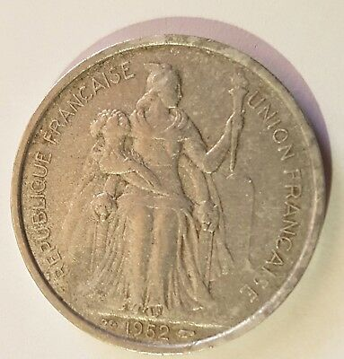 1952 5 Franc Aluminium Coin from NEW CALEDONIA in Fair Condition