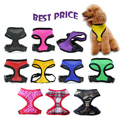 Dog Puppy Pet Adjustable Harness Comfort Breathable Soft Mesh Fabric with Clip