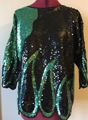 MAPLE Vintage Sequin Beaded 80s Top Jumper