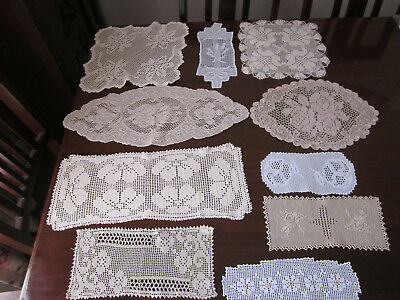 Lovely Collection Of 10 Filet Crochet Lace Doilies