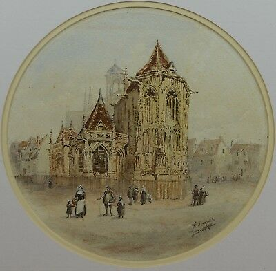 Antique 19th Century Architectural French Church Watercolour Painting