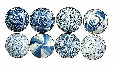 Mino-Ware Japanese blue and white pottery Small bowls set 8 different design