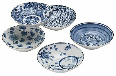 Mino-Ware Japanese Blue and White Pottery Medium Bowls Set of 5 Free Shipping