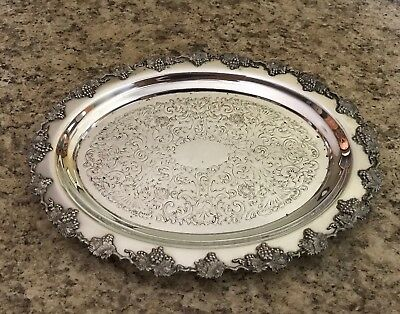 Wm. Rogers Hamilton Ontario Grape Pattern Silver Plated Small Tray